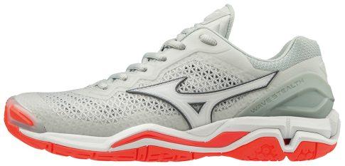 MIZUNO WAVE STEALTH V / Glacier Gray / White / Fiery Coral női kézilabda cipő