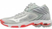 Mizuno Wave Lightning Z5 MID Glacier Gray / Dark Shadow / Fiery Coral női kézilabda cipő