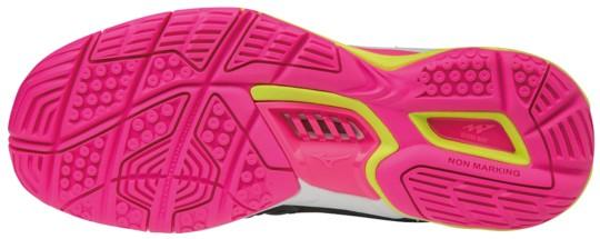Mizuno Wave Stealth 4 BlackPinkYellow női kézilabda cipő